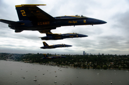 The Blue Angels performing above Lake Washington during Seafair in 2011.