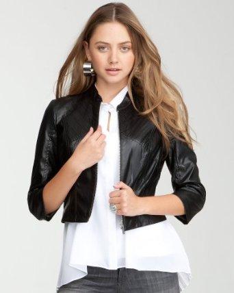bebe sleek seamed leatherette jacket