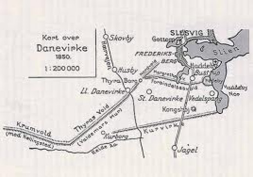 Map of the Danevirke at its eastern end near Slesvig