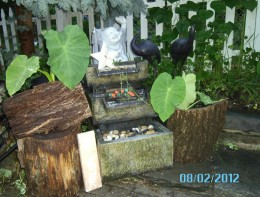Someone was throwing out this fountain, I put a few containers of elepant earson eac side and then used bark to give them a different look