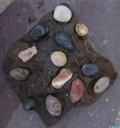 And I just added some colorful stones into the natural holes of the rock.