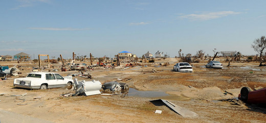 Damage from Hurricane Ike in Bolivar Peninsula, Texas