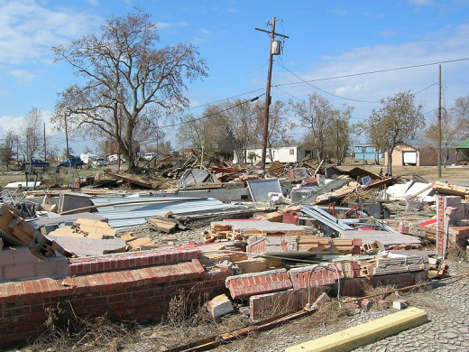 Hurricane Ike damage in Sabine Pass, Texas.
