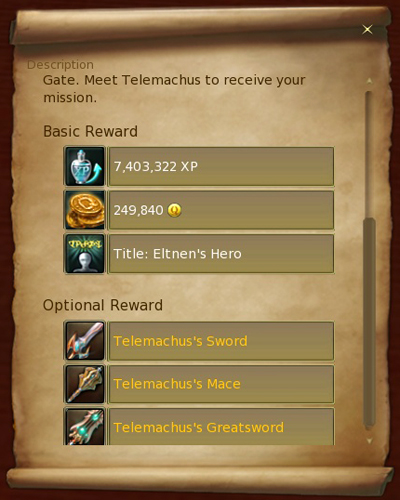 Some quests will offer kinah, armors or weapons, aside the typical EXP. Do not miss these quests while levelling up.