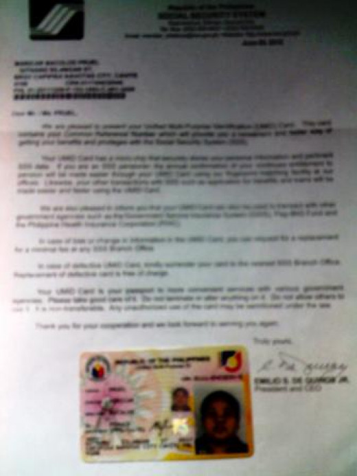 SSS letter dated June 28, 2012 with the UMID Card