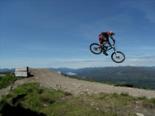 A high jump on a mountain bike track. all credit for this image belongs to NN1875 via. http://www.geograph.org.uk/gridref/NN1875
