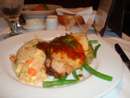 You get a sizeable portion at fine dining, and you can skip desert or have an healthy option. BTW, this was my favorite on the cruise, Fried rice and grilled tilapia. Hmm, so good!