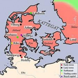 The core of the mediaeval kingdom of Denmark, unlimited vision for such a cramped realm led to overseas holdings from west to east between Ireland and Normandy