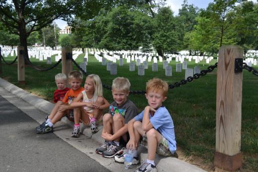 Kids appreciating Arlington National Cemetery