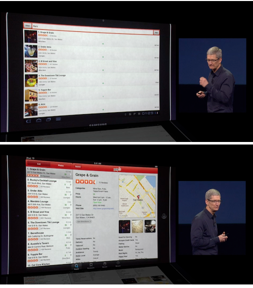 Apple CEO Tim Cook demonstrating the differences between the iPad's Yelp app and the competition's.