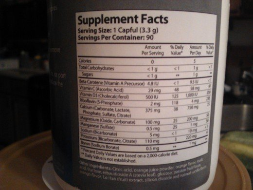 Isotonix Calcium Ingredient label