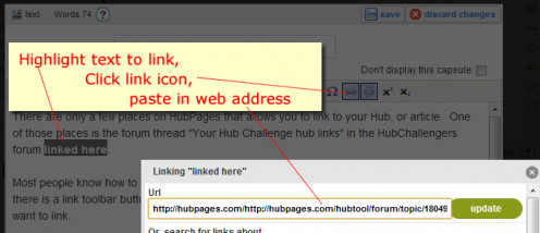 Highlight text and use the link icon when composing Hubs.
