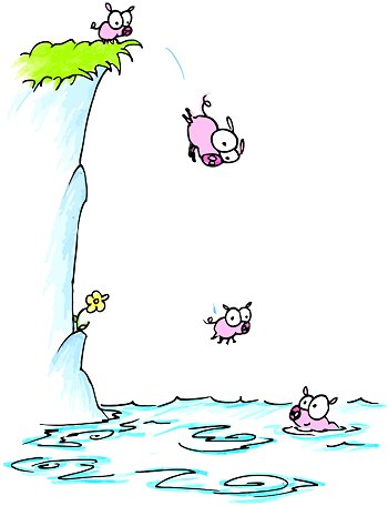 This is just a recreation of swine going over a cliff. No pigs were possessed, or have been harmed in this reenactment.