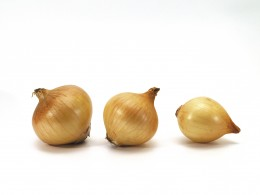 Onions may be chopped in cubes or sliced in crescent shapes then fried in oil in a skillet to let the onions soften to transparency.