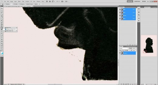 (11.) Tidy up with the 'Background Erasure tool' taking care not to erase any part of the silhouette.
