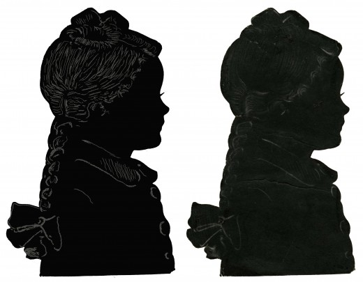 Side by side comparison of the finished silhouette with the original