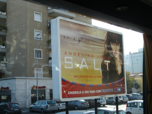 Angelina Jolie on Billboard in Rome, Italy in 2010 Advertising her Movie SALT