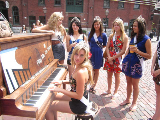 Kirsten Collins 2012 Miss Teen Calgary plays piano in The Distillery District