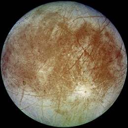 Europa, a moon of Jupiter, believed by many to have oceans of liquid water beneath its icy surface - a possible habitat for life in space