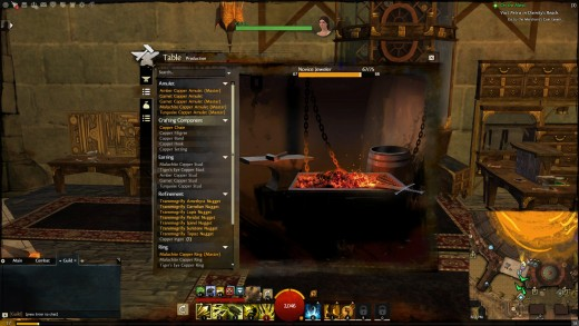 The crafting menu and recipe list in Guild Wars 2.