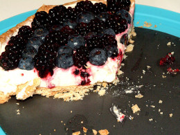 A fresh berry tart won't last long once it has been sliced!