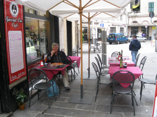 An Outdoor Cafe in Genoa, Italy