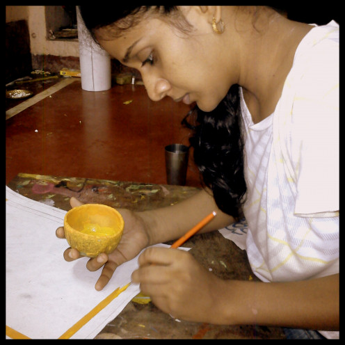 Myself trying on with pattachitra painting