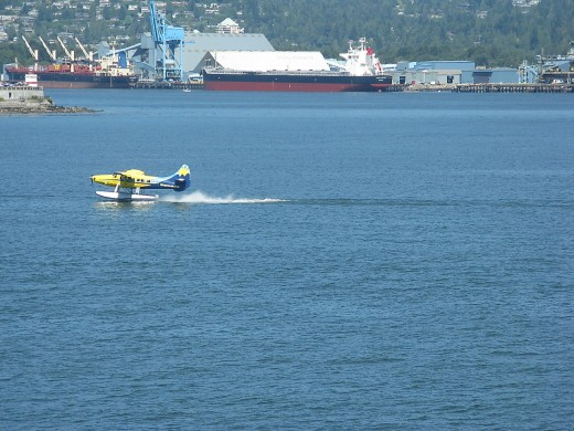 A float plane that has just landed