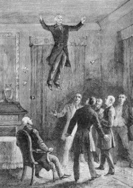Fire handling was not the only talent posessed by D.D.Home. He was also famed for levitation as depicted in this contemporary illustration