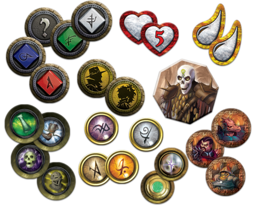 An assortment of tokens and counters