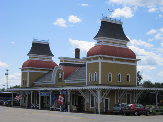 North Conway Scenic Railroad Station. North Conway, NH. A Historical Train Ride through the White Mountains.