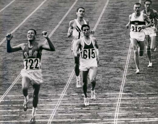Motivation to cross the finish line: Billy Mills winning the 10,000m in the 1964 Olympics.