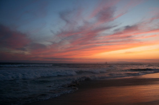 Huntington Beach, California at Sunset