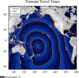 Travel time for the tsunami in Indonesia