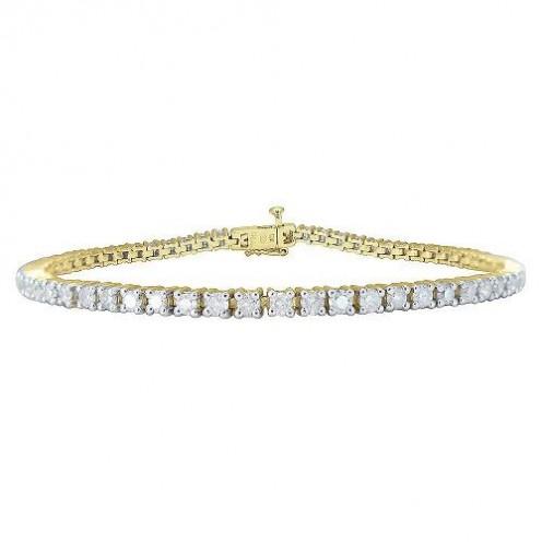 14k Yellow Gold, 3 Carat Tennis Bracelet