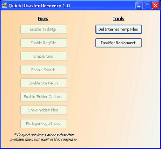 The interface of the free software Quick Disaster Recovery is simple and offers ease of use.