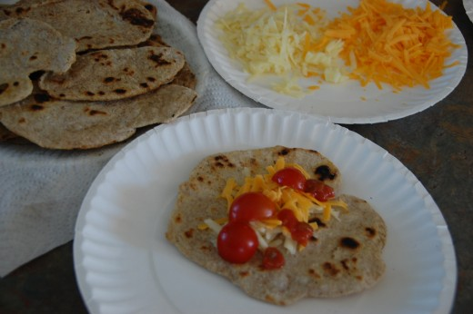 Homemade tortillas made with unbleached flour
