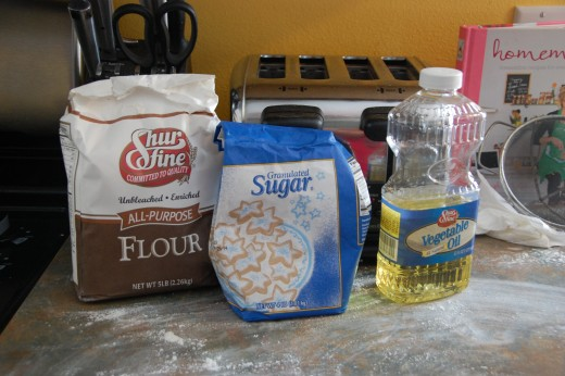 Dough ingredients, plus salt and warm water