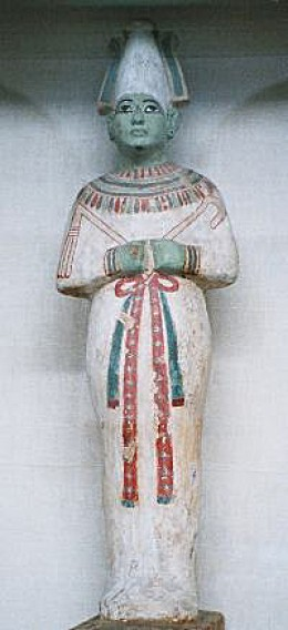 This statuette of Osiris, the first son of Geb, the original king of Egypt, was photographed by Hajor in December 2002.