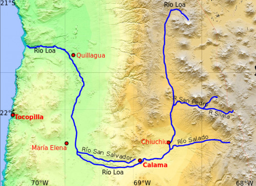 The Loa River showing its long trajectory through the Atacama Desert