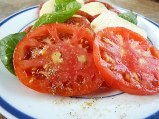 The simplest of salads, Capri salad.