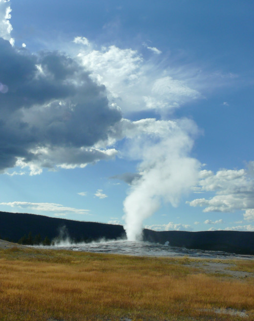 One of the great sights in the world-Old Faithful erupting!