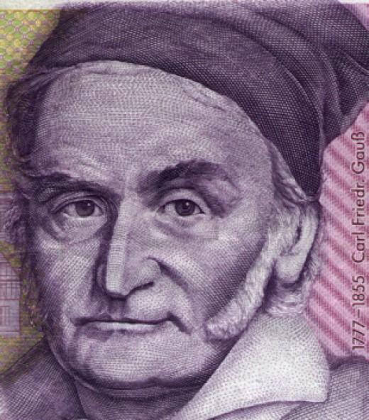 Gauss, a child prodigy, contributed greatly to many mathematical fields of study including geometry, astronomy and physics.  A primary scholar, he is shown here on the 10 Deutschmark bill, discontinued in 1993.