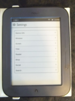 The Nook has an easy to use Setting page.