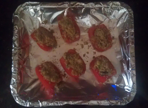 Tomatoes filled with bread crumb mixture