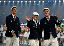 2008 Team USA Olympic athletes during opening ceremony in Beijing