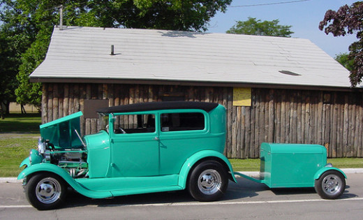 1931 Model A street rod with trailer
