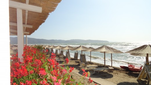 "Public Beach Club in Maremma Tuscany ""Il Tramonto"" on the Giannella Beach"