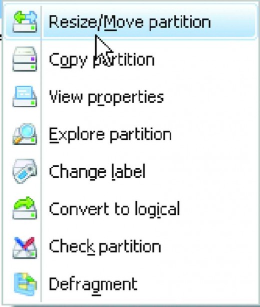 Right click options of Easeus partitioning software.