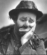 "Emmett Kelley as ""Weary Willie,"" a clown he created and used in the Depression Era."